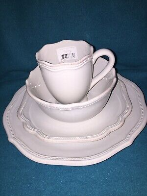 Lenox China French Perle Bead White 4Piece Place Setting New in Box