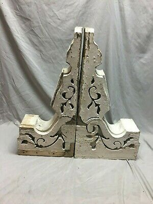Two  Antique Victorian Gingerbread Roof Corbels Shelf Brackets Vtg 101-19J