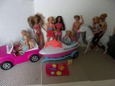 Barbie Ken and Chelsea Dolls Bundle Car Boat Dolphins and Horse