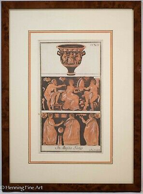 Antique 18th Century Etching Classical Greek Red Figure Pottery 10/11 FINE!