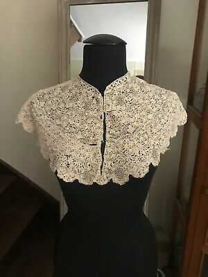 "RARE BOBBIN LACE LARGE COLLAR  or CAPLET Silk - INTRICATE floral DESIGN 49""by 8"""