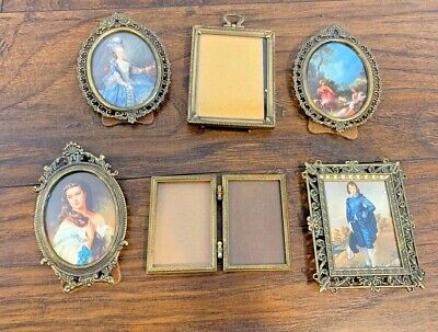 Vintage Gold Brass Colored Frames Small Lot 6 Oval Rectangle Italy Ornate
