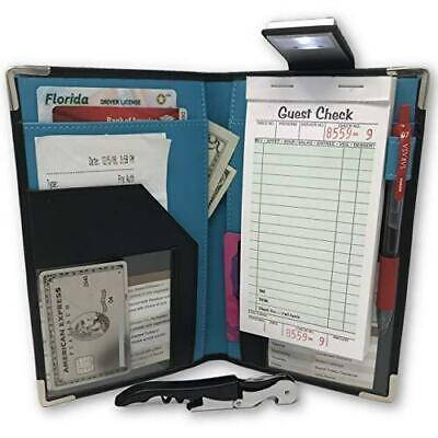 Waitress Server Book Wallet Organizer – Bundled with Wine Opener & Reading Flash