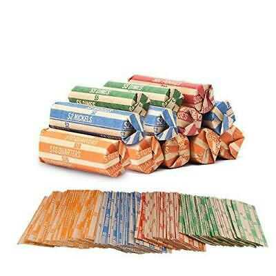 Coin Roll Wrappers -(220 Pack) Assorted Flat Coin Papers Bundle of Quarters Nick