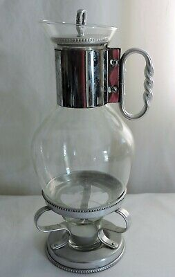 Vintage Coffee & Tea Carafe Warmer Stand Glass with Silver detailing