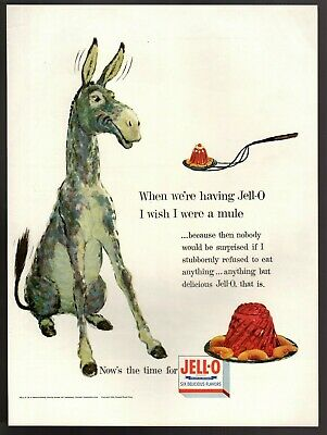 Original 1954 Jell-O  Stubborn Mule Donkey Jello Print Ad Advertisement