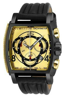 Invicta S1 Rally 27944 Men's Black/ Gold Genuine Leather Chronograph Watch