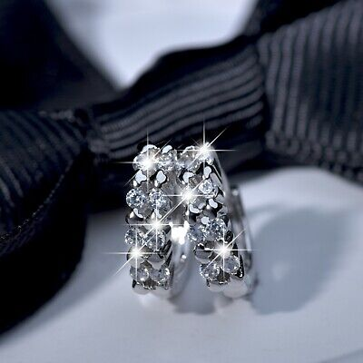18k white gold gf made with SWAROVSKI crystal huggie statement earrings SMALL