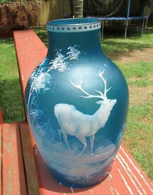 Victorian Stag Scene Cameo Glass Vase Stunning Blue Satin - Webb & Sons