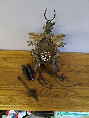 VINTAGE GERMAN CUCKOO CLOCK wood Schneider sohne MOVEMENT CLOCK BUCK bird repair