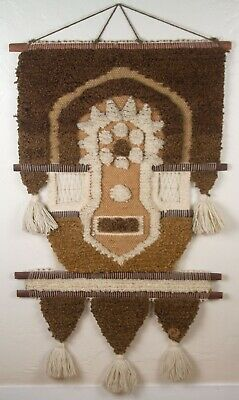 Vintage 1970s Don Freedman Mid Century Woven Wall Hanging Fiber Tribal Art #039