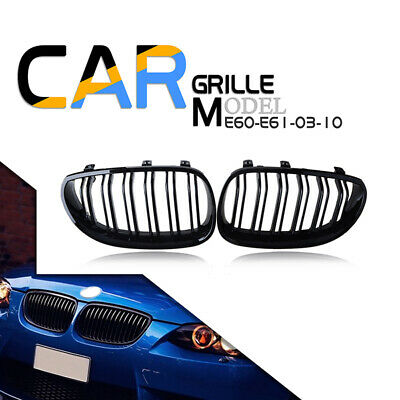 For 2003-2010 BMW E60 E61 5 Series Gloss Black Front Kidney Grill Grille Cover