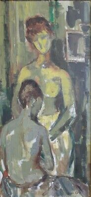 Doris Klein (NY 1918-2002) Orig.Signed Oil on Canvas Painting 2 Female Nudes