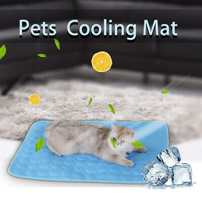 Dog Cooling Mat Pet Cat Chilly Non-Toxic Summer Cool Bed Pad Cushion Indoor S-XL