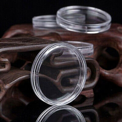 100Pcs Clear Round Capsules Coin Holders Plastic Protector For 24mm Applied