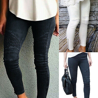 Womens High Waisted Skinny Jeans Jeggings Ladies Slim Stretchy Pants Trousers