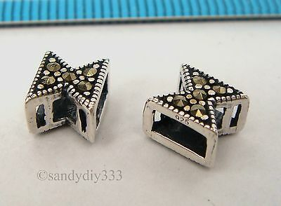 2x ANTIQUE STERLING SILVER MARCASITE STONE CROSS TUBE SPACER BEAD 7.4mm #2350