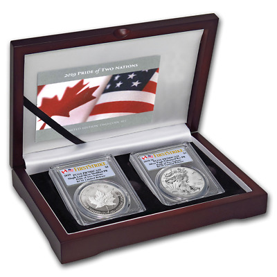 2019-RCM Pride of Two Nation PCGS PR70 ENHANCED REVERSE EAGLE & MAPLE LEAF SET