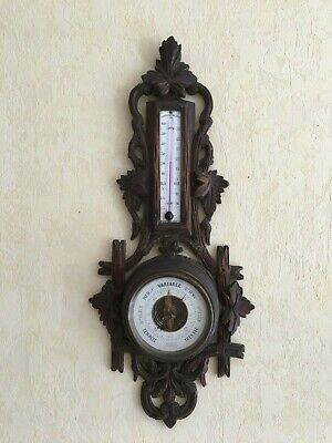 Antique French wall black forest barometer thermometer carved wood XIXth century