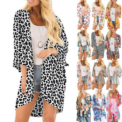 Womens Floral Chiffon Kimono Cardigans Ladies Beach Bikini Cover Up Size 6-22