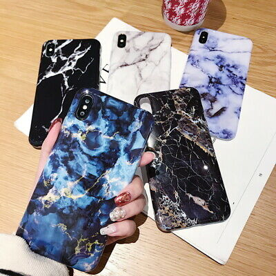 For Apple iPhone Xs Max XR X 7 8 Plus 6s Marble Granite Soft Bumper Cover Case