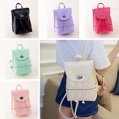 Women PU Leather School Backpack College Shoulder Bag Rucksack Travel Handbag