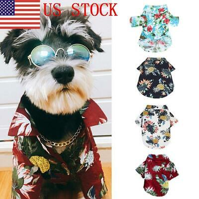 US Pet Dog Hawaiian Shirt Beach Clothes Vest Floral Printed Top For Dog GIFT