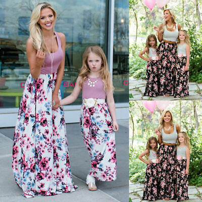 Family Matching Clothes Girls Women Motherand Daughter Floral Dresses Outfits