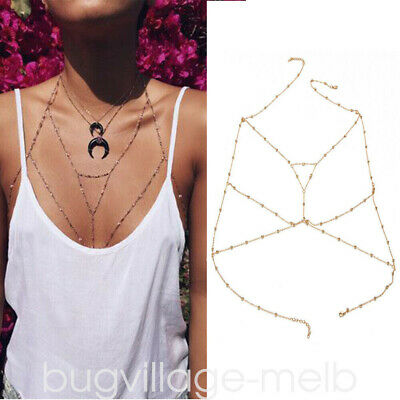 Fashion Women Long Chain Wrap Body Chain Harness Necklace Rhinestone Bra Jewelry