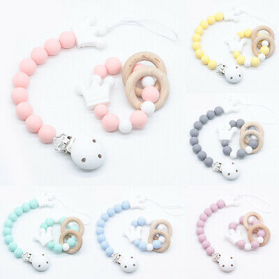Crown Dummy Pacifier Chain Clip Round Silicone Bead Beech Ring Baby Bracelet Set