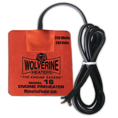 """Wolverine Silicone Pad Heater 3.75 x 4.25"""" 250w 230v - Engine Oil Fuel Filter"""