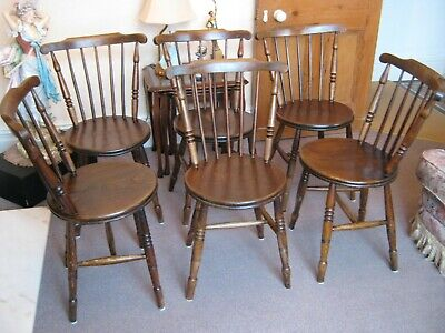 Set of 6 Antique Victorian Penny Windsor Kitchen Dining Chairs c1890s in Elm