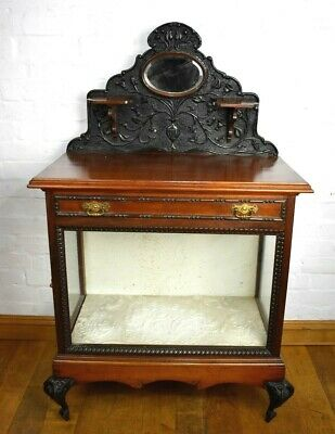 Antique carved Victorian glazed cabinet - display case