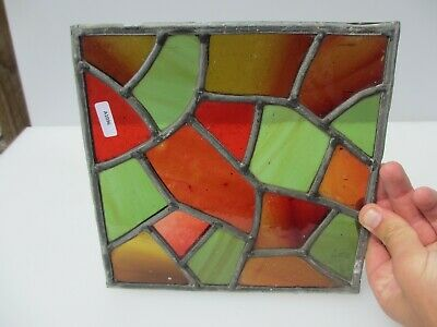 "Vintage Stained Glass Window Panel Architectural Colourful Green 9""W"