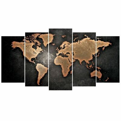 5 Pcs/Set Modern Abstract Wall Art Painting World Map Canvas Painting for L J6M2