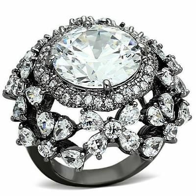 874 Pear Cocktail Big Womens Statement Simulated Diamond Ruthenium Plated Ring