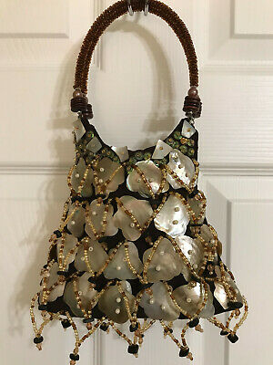 Abalone Mother of Pearl/Shell Beaded Purse Brown-Beautiful Design!!!