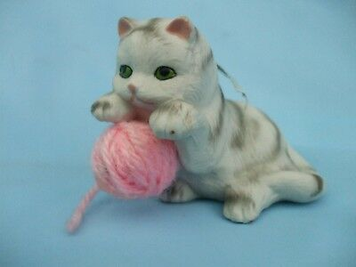 Collectable Cute Grey and White Kitten Cat Ornament With a Real Wool Ball