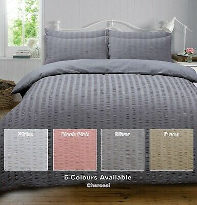 SEERSUCKER Puckered Ruched Duvet Cover Quilt Cover Set Bedding Set Polycotton