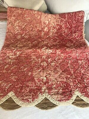 Antique French Toile de Jouy Cushion Case/ Red Fabric Vintage Quilt Panel- 1800s