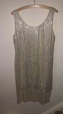 Jeffrey & Dara By Tom Barba Gold Sequin Evening Dress Size 14