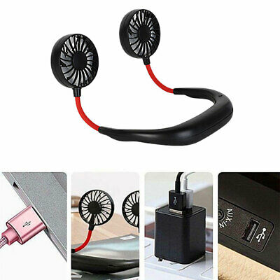 Portable Mini USB Fan Rechargeable Neckband Wearable Cooler Voyage Handheld Air