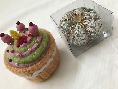 2x Collectable Pin Cushion ~ Betz White Felted EUC ~ Liberty Crown NEW