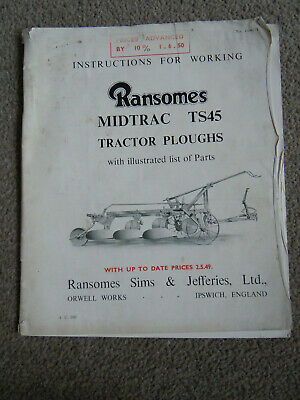 @Vintage Ransomes Midtrac TS45 Tractor Ploughs Instruction & Parts Book@