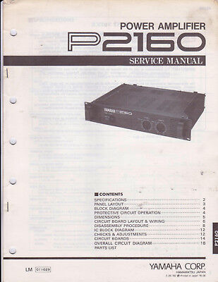 YAMAHA POWER AMPLIFIER P2160 Service Manual Schematics Parts List