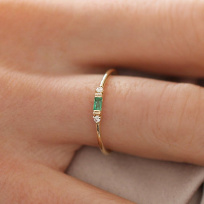Women's Rings Vintage Emerald Small Zircon Inlay Luxury Ring Size 5-10