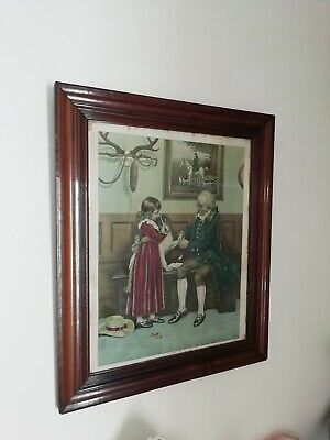 Antique Victorian First Aid Picture After Original Watercolour Frank Dadd