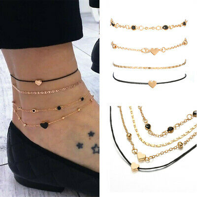 4pcs/Set Women Jewelry Gold Plated Heart Beads Ankle Chain Foot Anklet Bracelet,