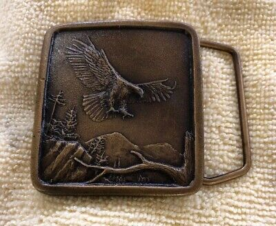 MINT~Vintage 1977 Indiana Metal Craft American Bald Eagle Mountains Belt Buckle