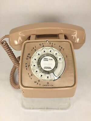 General Telephone Rotary Dial Desk Phone MAUVE COLOR RARE Tested & Works Vintage